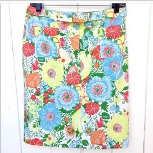 Talbots Floral Skirt With Belt Size 8P